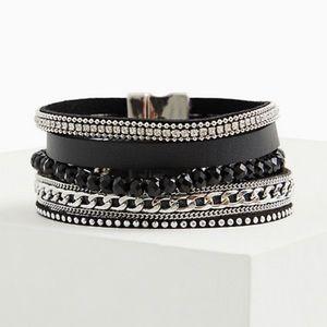 🆕 Torrid Black Faux Leather Chain Link Bracelet